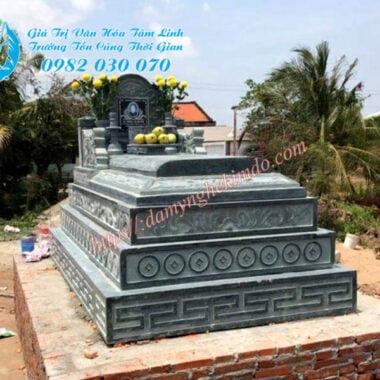Mộ tam cấp đá xanh rêu, mộ tam sơn đá xanh rêu đẹp, Mẫu mộ đá xanh rêu đẹp, mộ tam sơn, mộ đá tam cấp đẹp